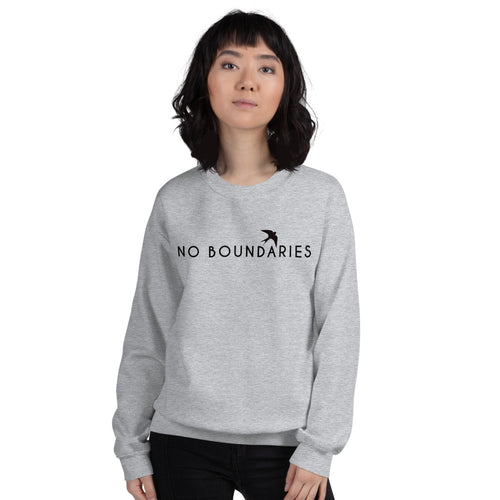 No Boundaries Sweatshirt | Grey Motivational Crew Neck Sweatshirt