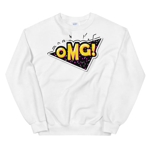 White Oh My God Slang Pullover Crewneck Sweatshirt for Women