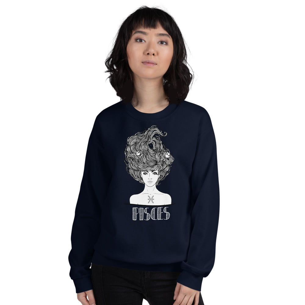 Navy Blue Pisces Star Sign Pullover Crewneck Sweatshirt for Women