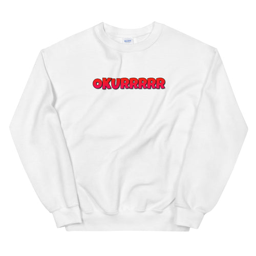White Okurrr Cardi B Meme Pullover Crewneck Sweatshirt for Women