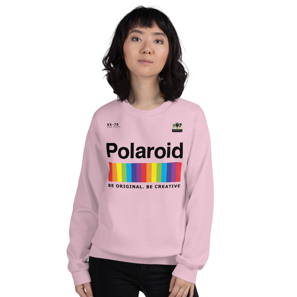 Pink Polaroid Logo Pullover Crew Neck Sweatshirt for Women