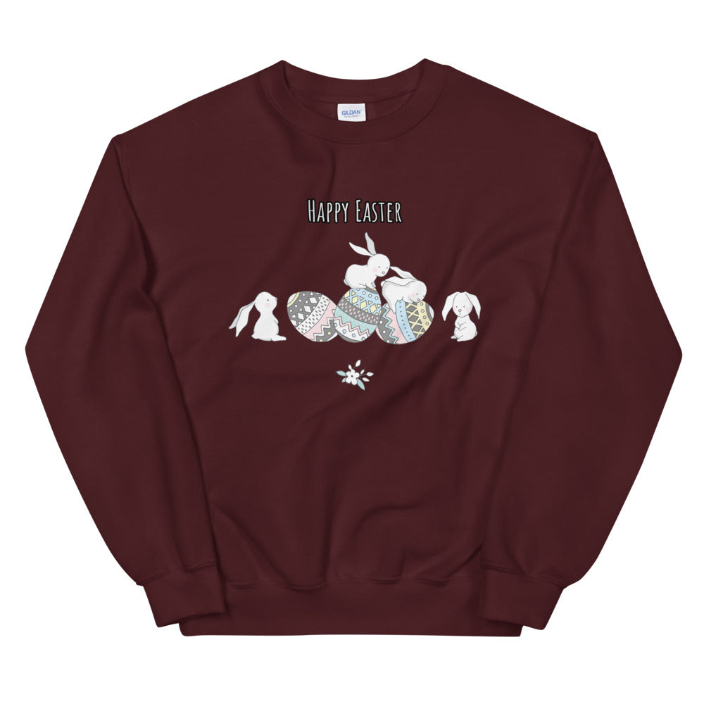Happy Easter Bunny with Easter Eggs Crewneck Sweatshirt