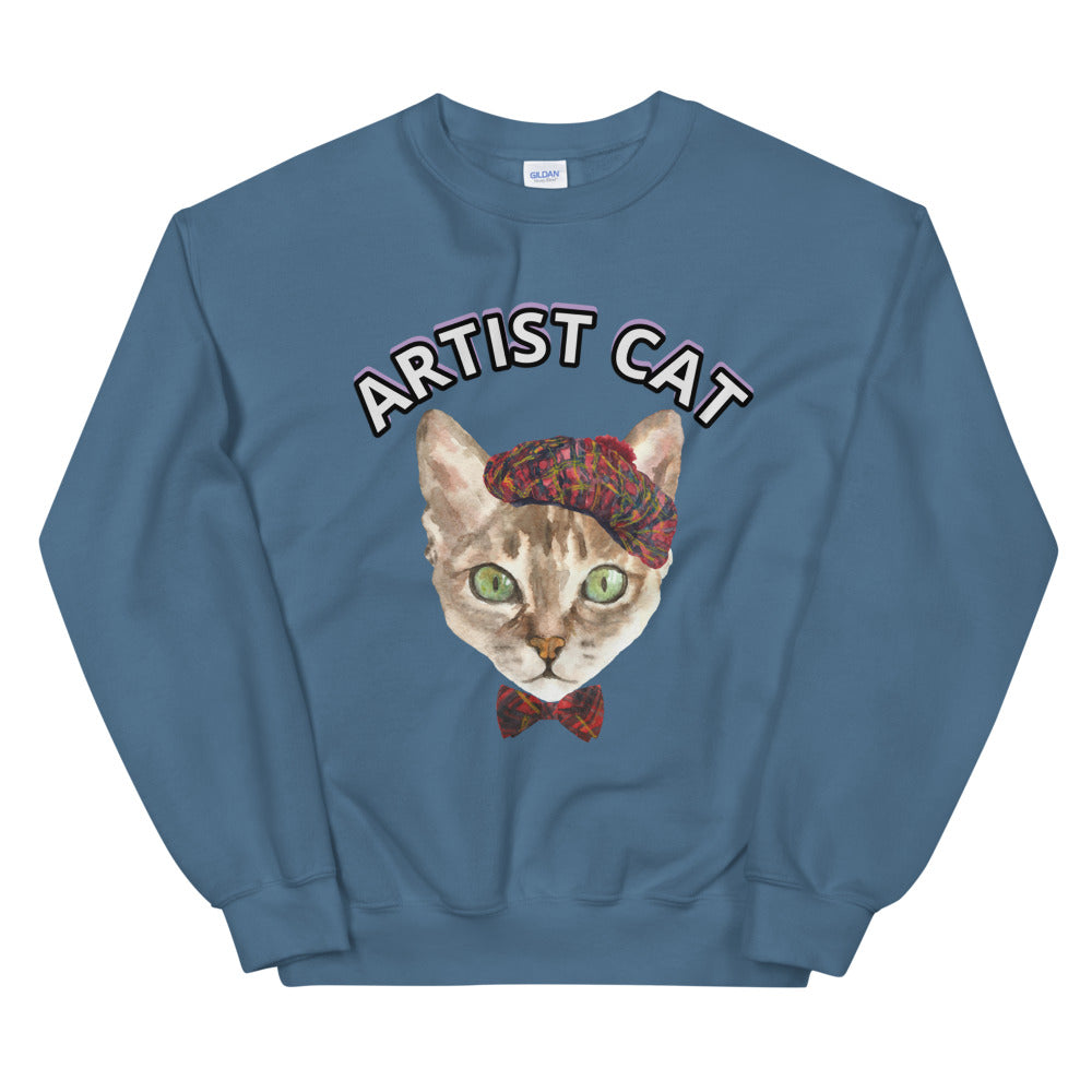 French Artist Cat Crewneck Unisex Sweatshirt for Women