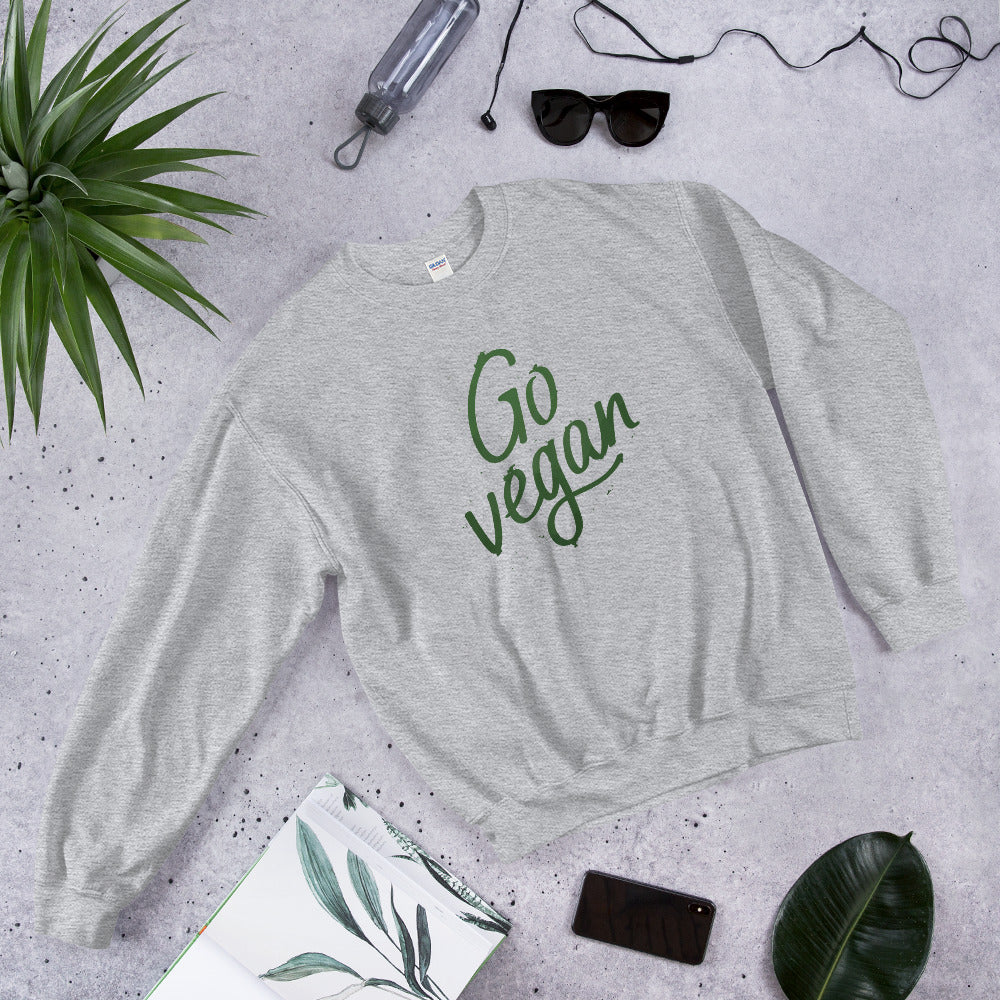 Go Vegan Sweatshirt | Go Vegan Slogan Crewneck for Women