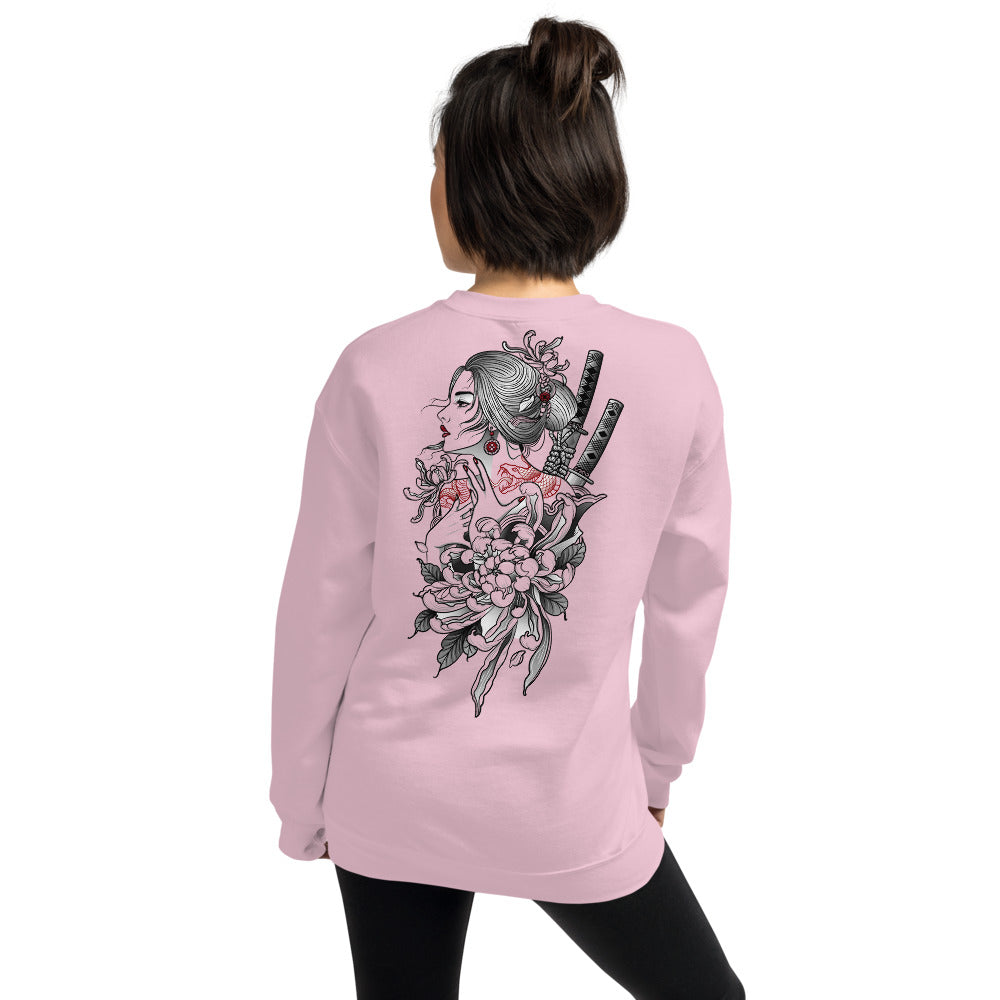 Japanese Woman Samurai Warrior Sweatshirt in Pink Color