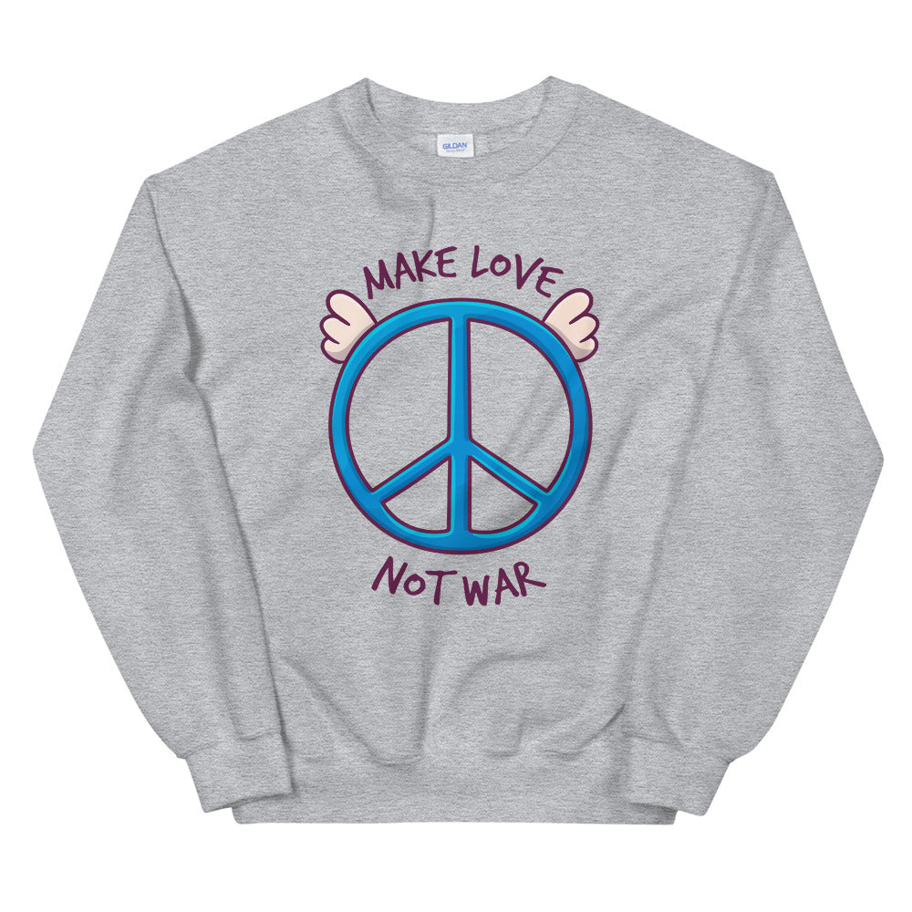 Make Love, Not War Sweatshirt | Grey Peace Day Slogan Sweatshirt