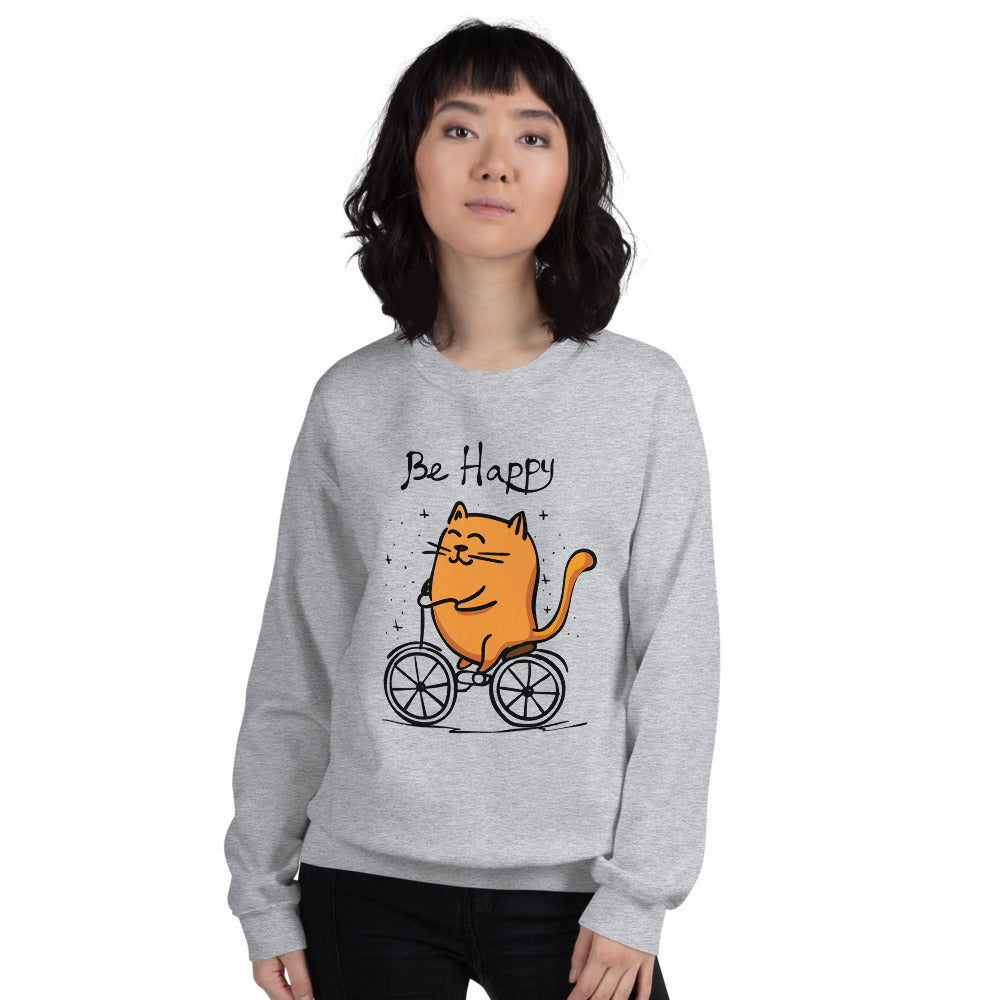 Be Happy Cat Sweatshirt | Happy Cycling Cat Crewneck for Women