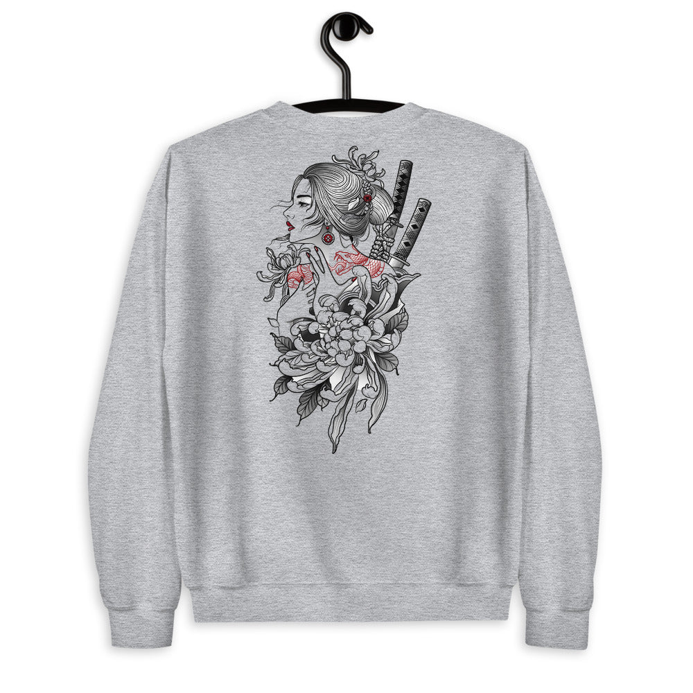 Japanese Woman Samurai Warrior Sweatshirt in Grey Color