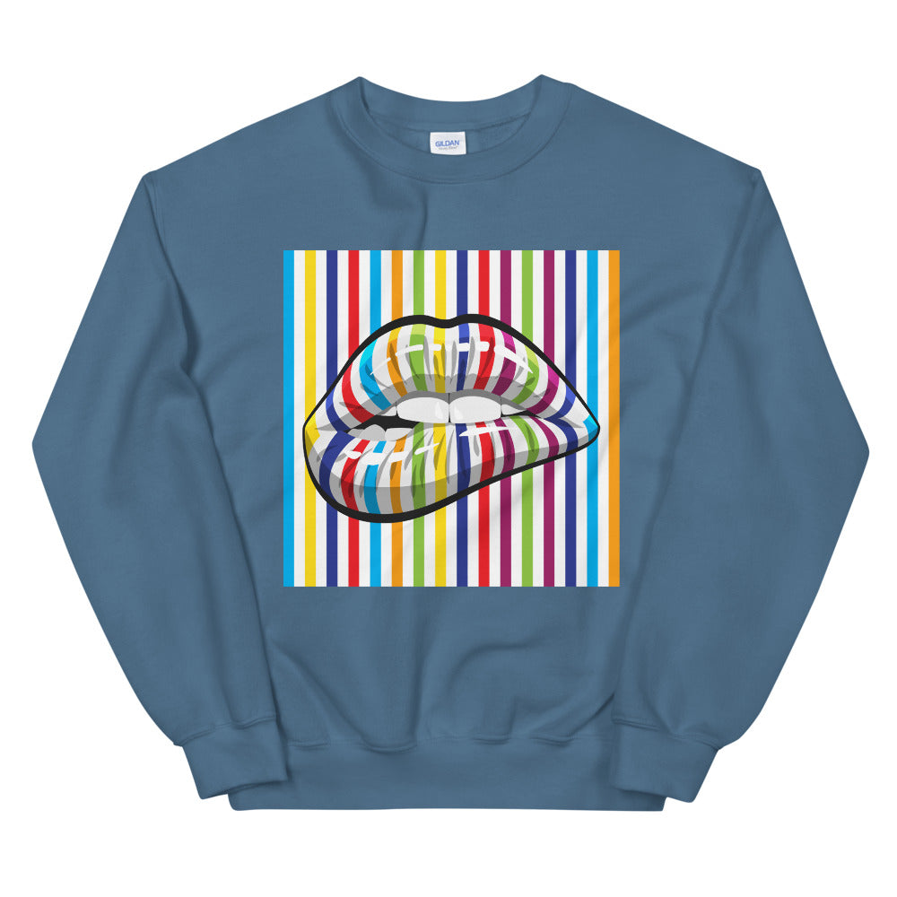 Colourful Lines Lip Bite Print Lip BiteCrewneck Sweatshirt for Women