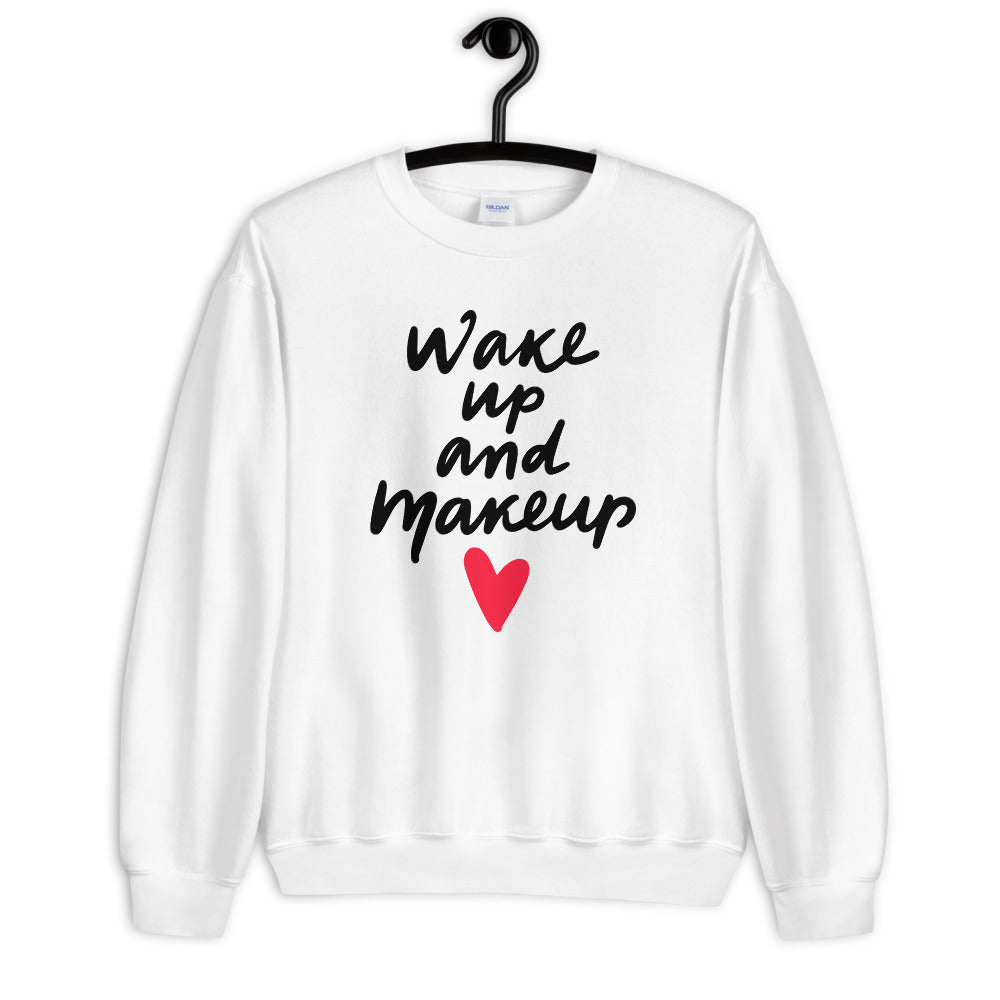 Wake Up and Makeup Sweatshirt in White Color