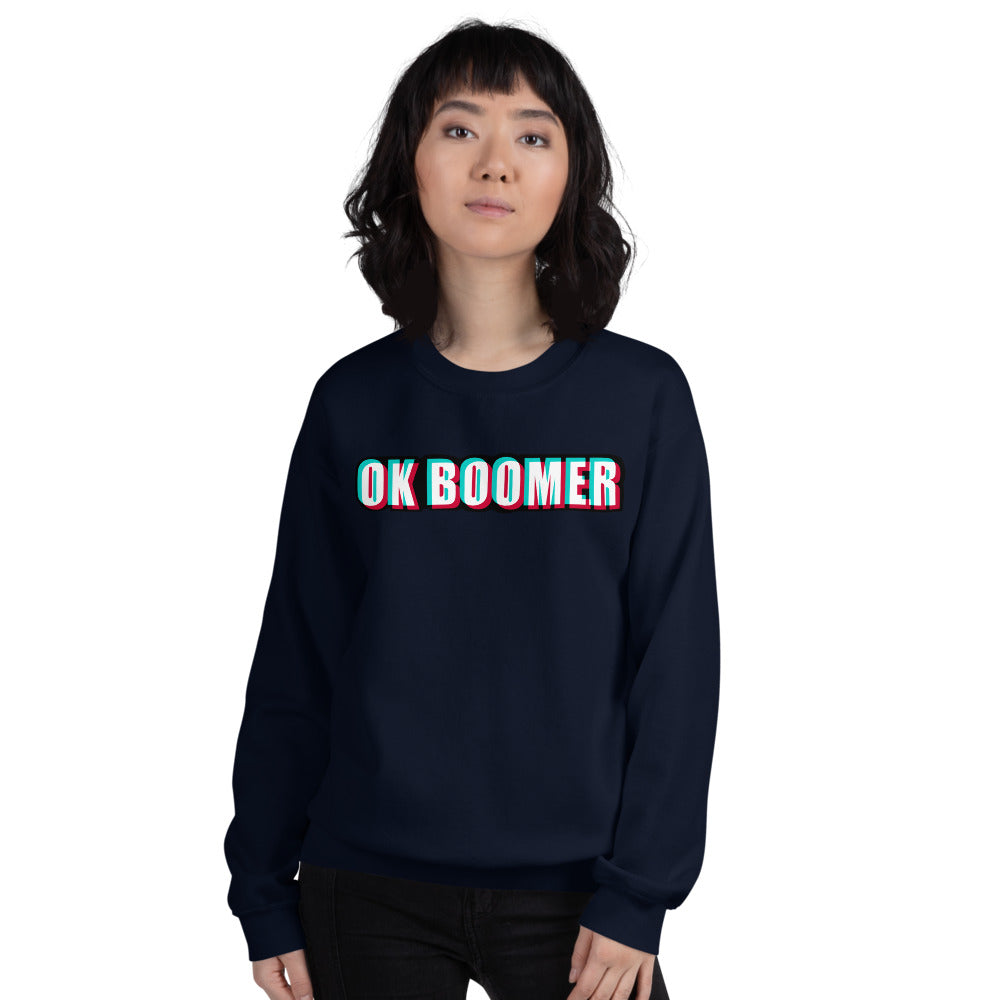 Ok Boomer Sweatshirt | Navy Ok Boomer Meme Sweatshirt for Women