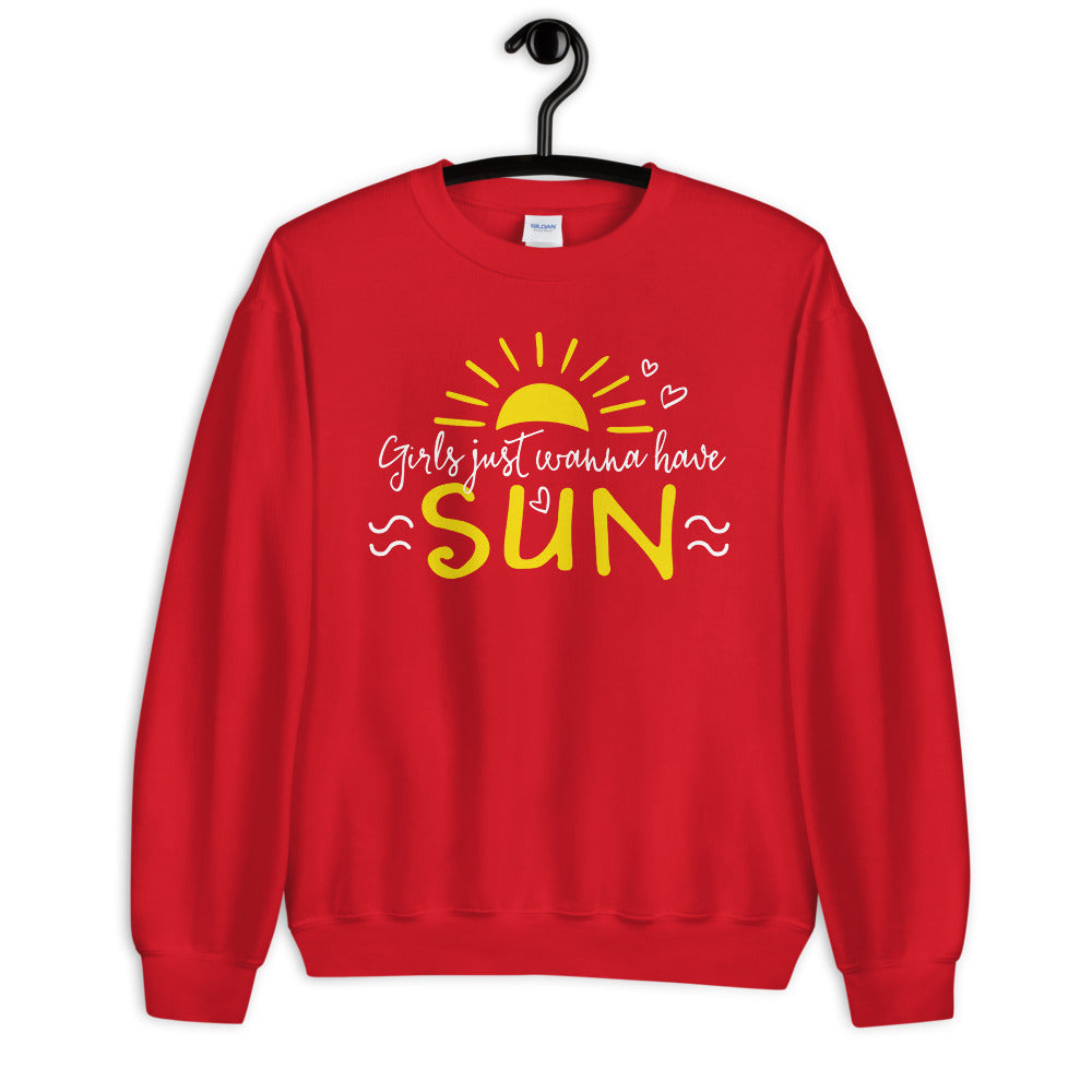 Girl Just Wanna Have Sun Sweatshirt for Women in Red Color