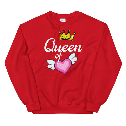 Queen of Heart Sweatshirt in Red Color for Women