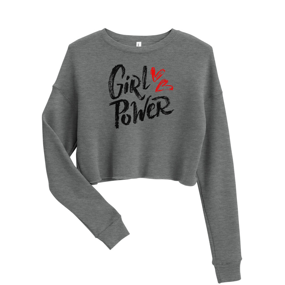Girl Power Fleece Cropped Top Crew Neck Sweatshirt