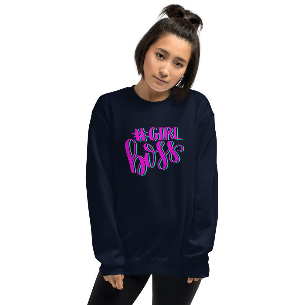 Girl Boss Sweatshirt | Navy Hashtag Girl Boss Sweatshirt for Women