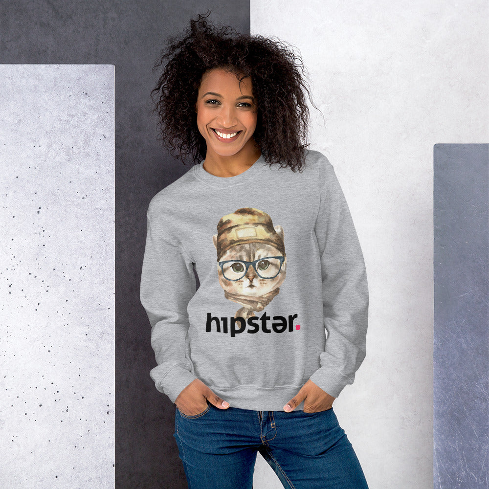Hipster Cat Art Drawing Graphic Meme Crewneck Sweatshirt