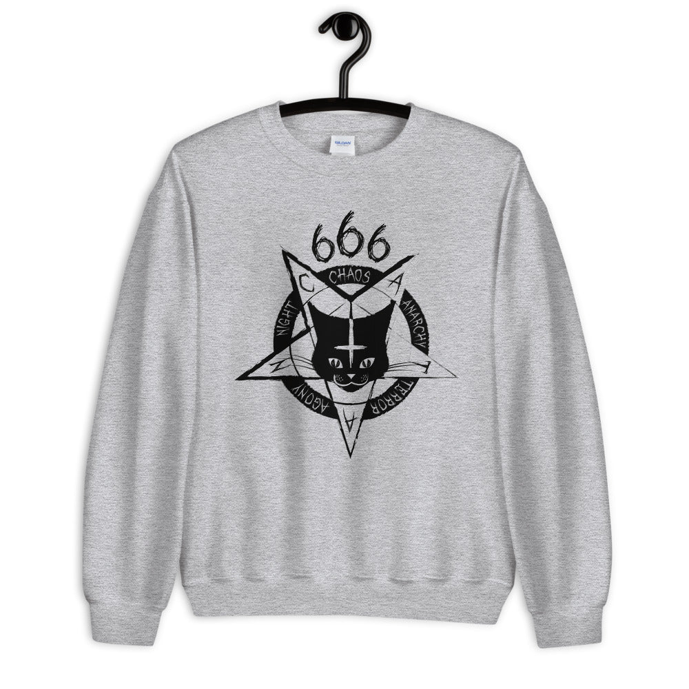 666 Satan Cat Crewneck Sweatshirt for Women