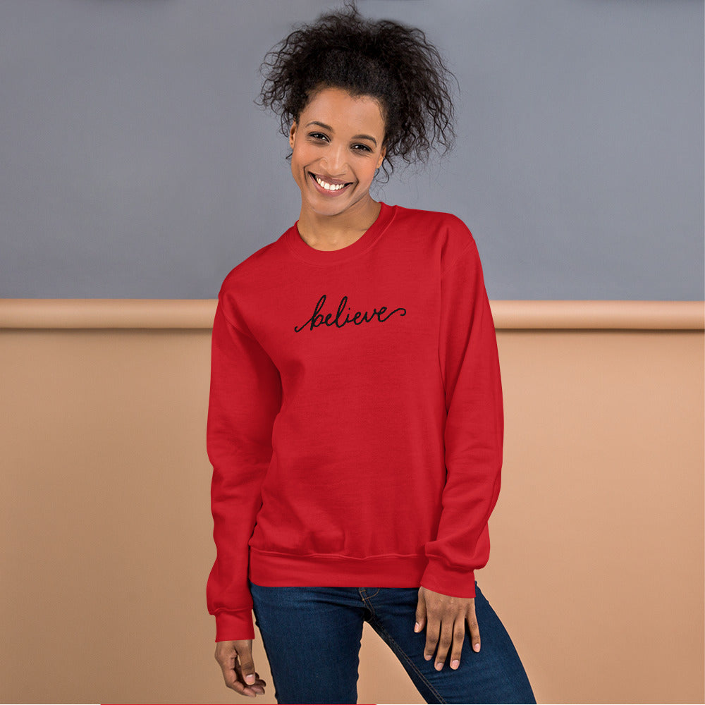 Red One Word Believe Motivational Pullover Crewneck Sweatshirt for Women