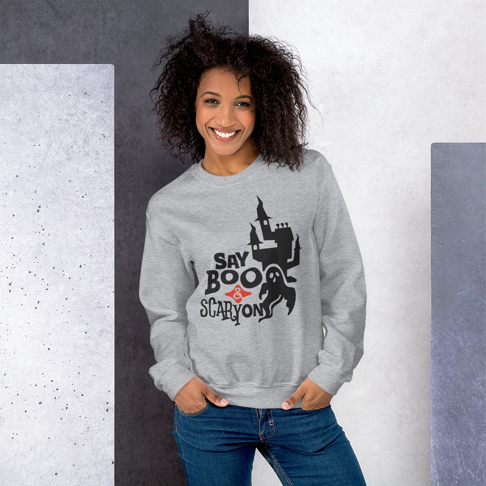 Say Boo & Scary On Halloween Crewneck Sweatshirt