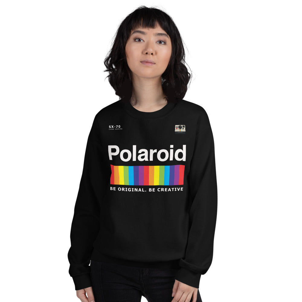 Polaroid Sweatshirt | Black Crew Neck Rainbow Polaroid Logo Sweatshirt for Women