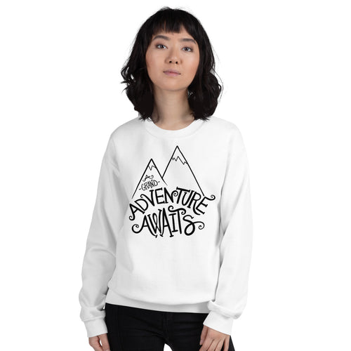 A Grand Adventure Awaits Sweatshirt | White Crewneck Sweatshirt for Women