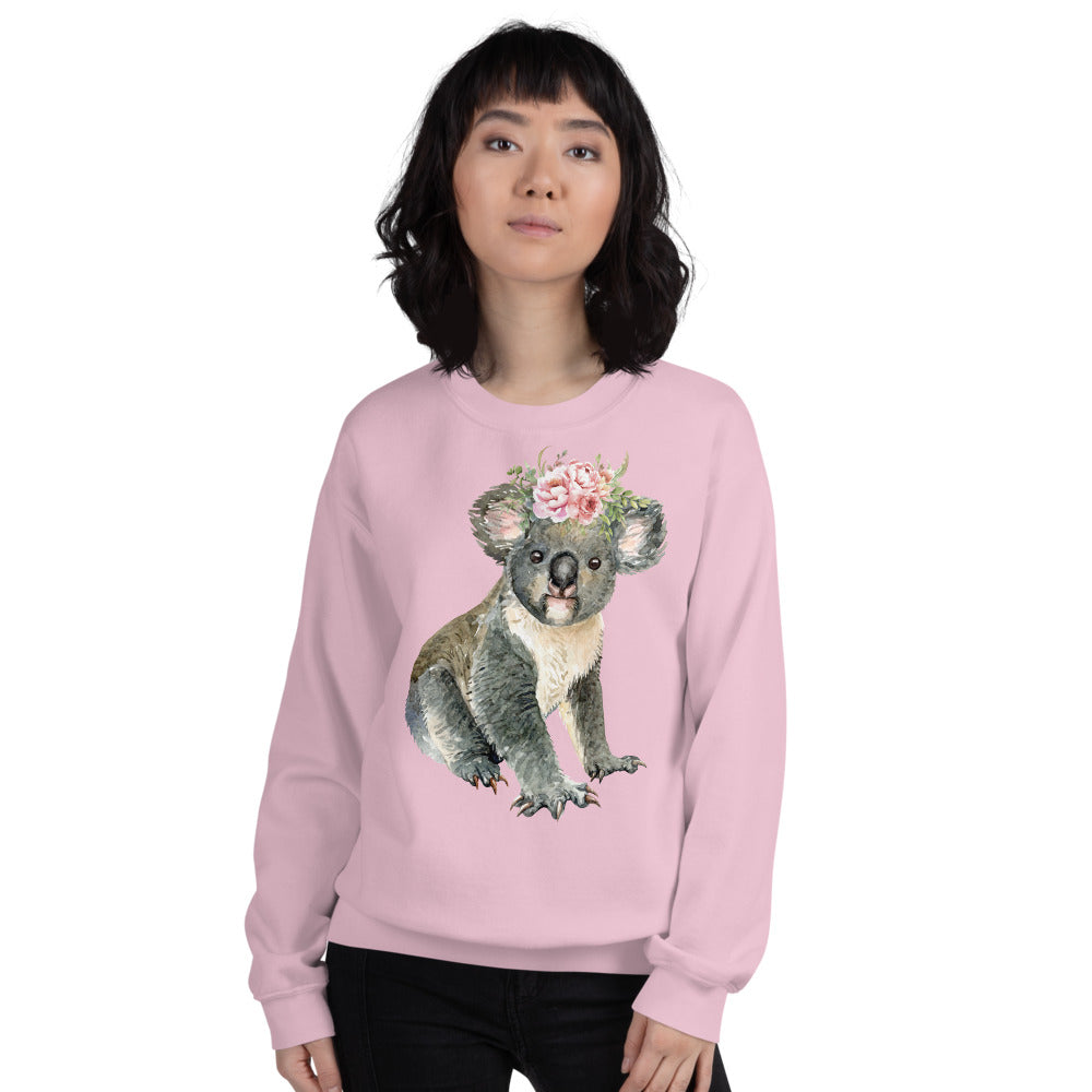 Cute Baby Koala Bear Sweatshirt in Pink Color for Women