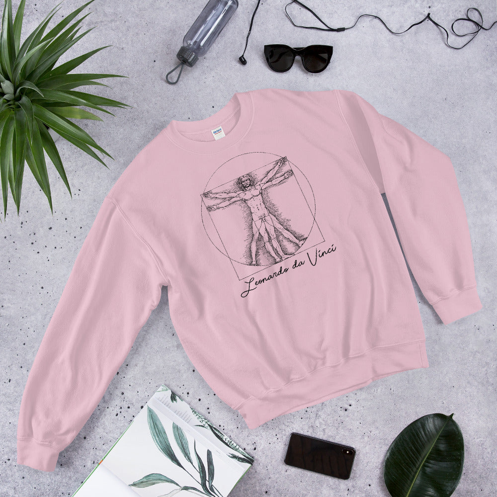 Pink Leonardo da Vinci Vitruvian Man Sweatshirt for Women