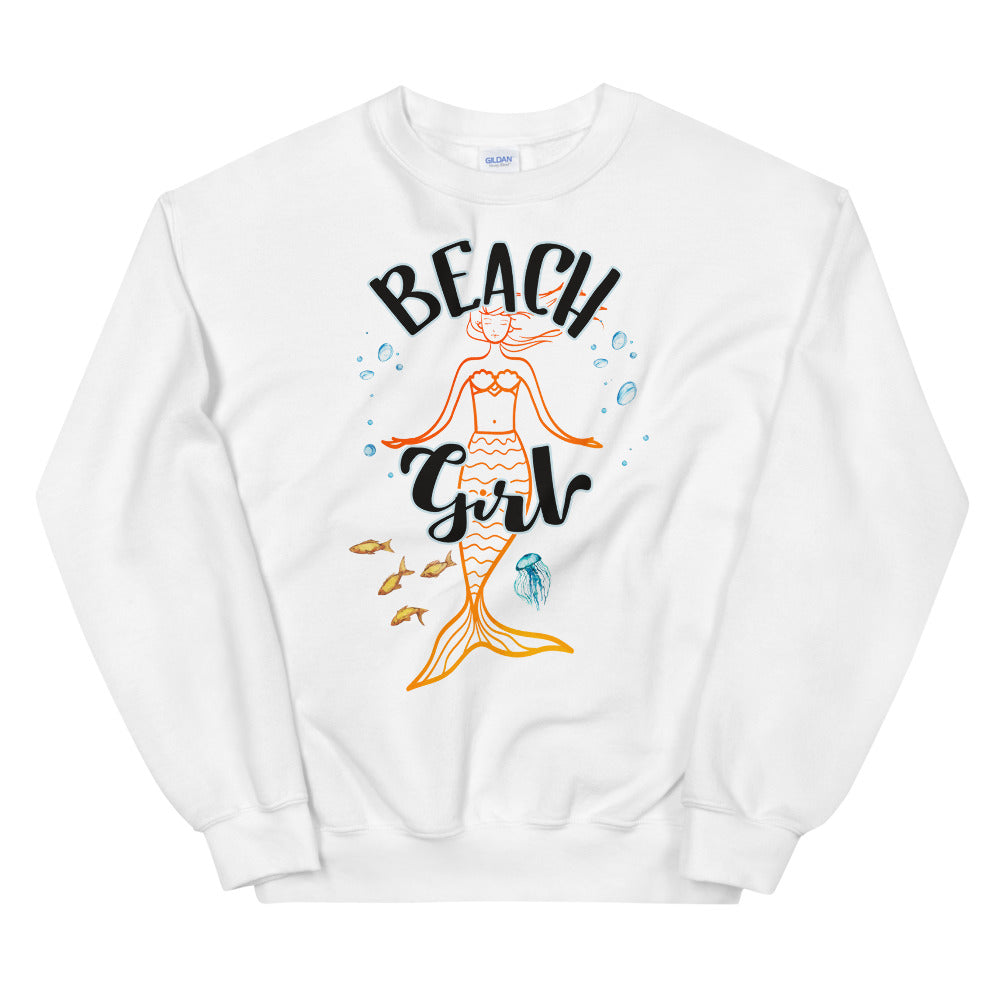 Beach Girl Mermaid Crewneck Sweatshirt for Women