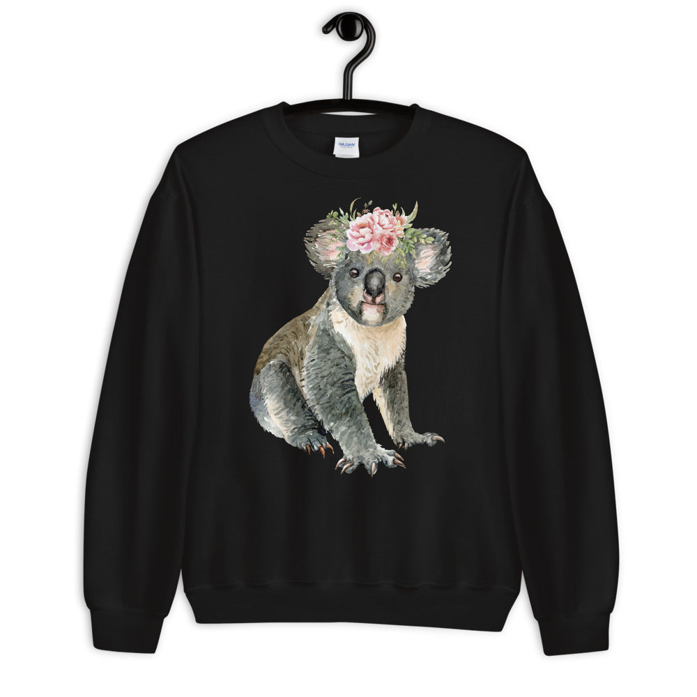 Cute Baby Koala Bear Sweatshirt in Black Color for Women