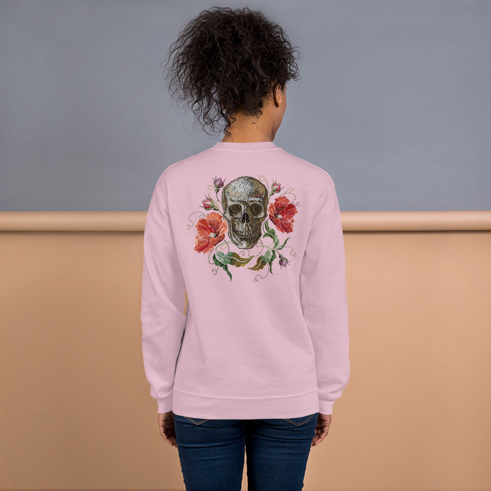 Rose Skull Sweatshirt | Pink Skull with Roses Sweatshirt for Women