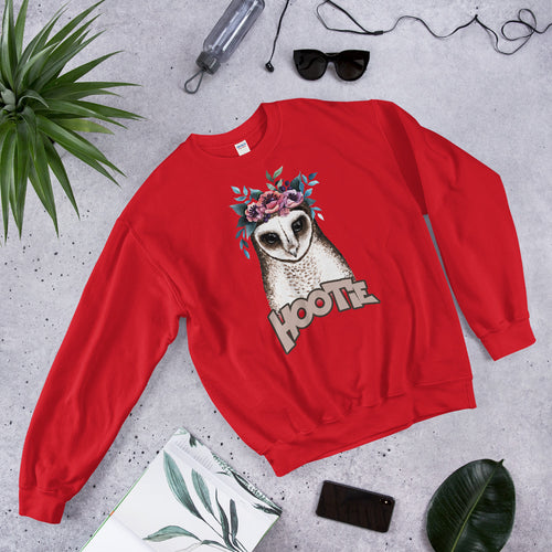 Hootie Sweatshirt | Red Owl Hootie Pullover Crewneck Sweatshirt for Women