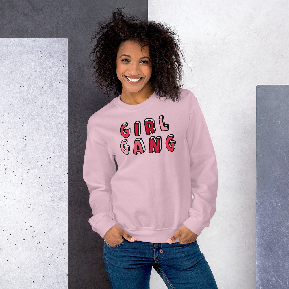 Girl Gang Sweatshirt | Pink Girl Gang Pullover Crewneck Sweatshirt for Women