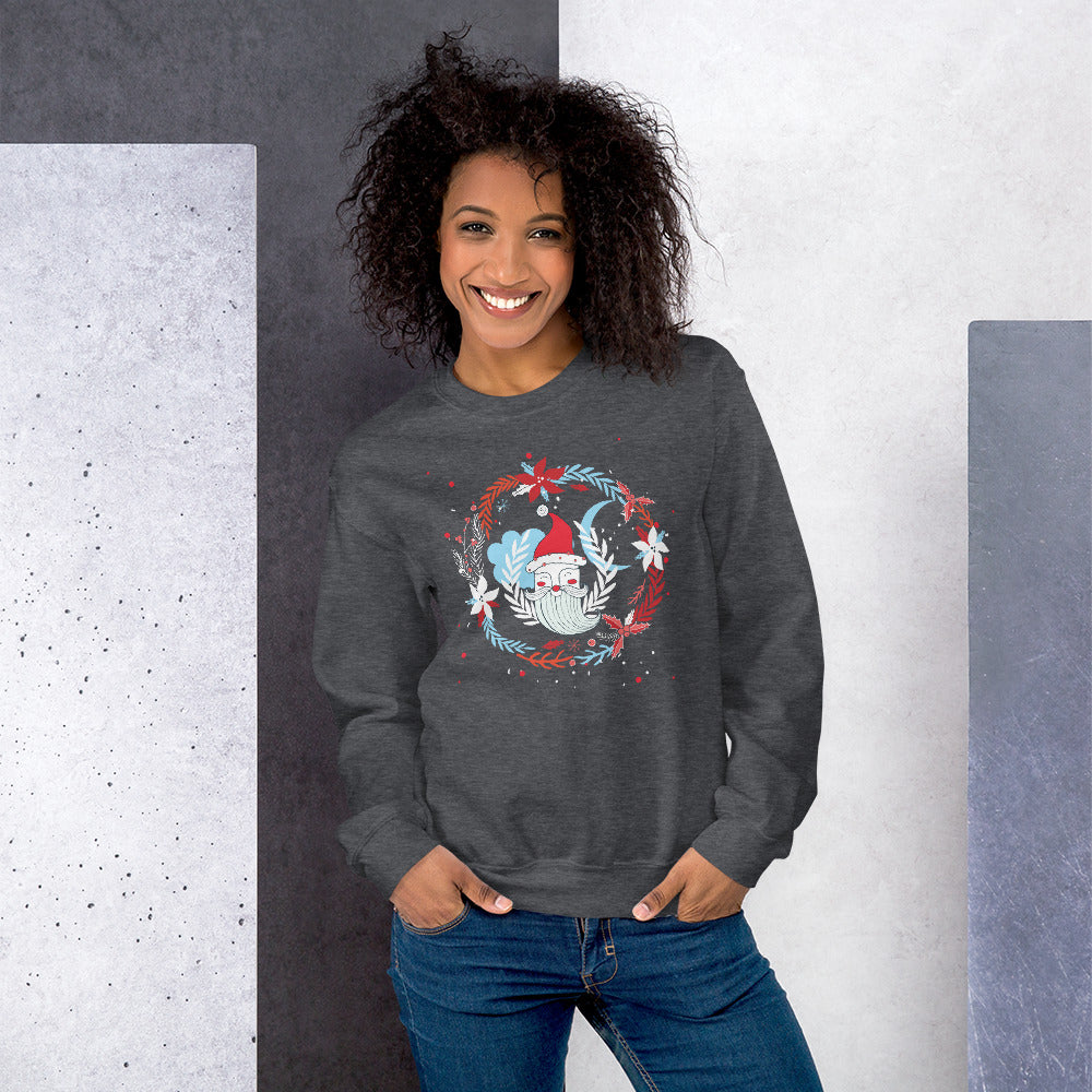 Santa Face Half Mood Christmas Wreaths Crewneck Sweatshirt