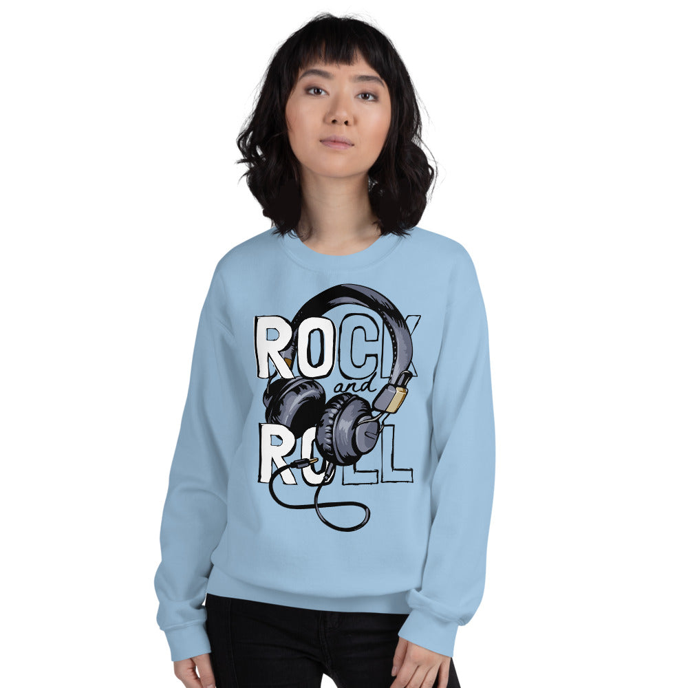 Rock and Roll Headphones Crewneck Sweatshirt for Women