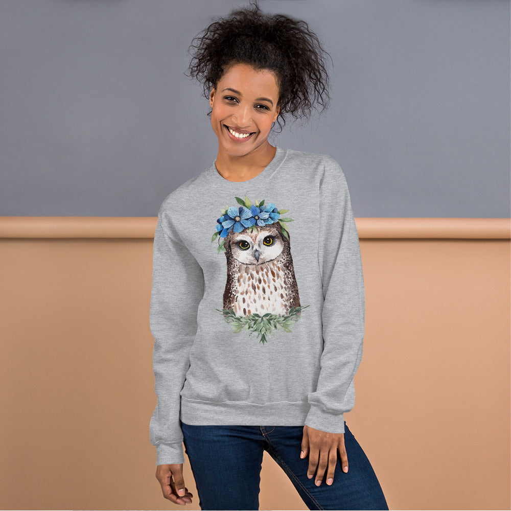 Owl Sweatshirt | Flower Crown Owl Sweatshirt for Women in Black
