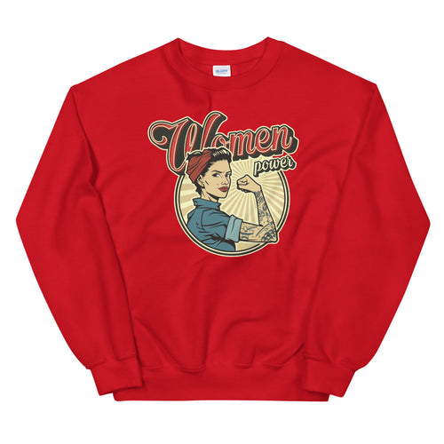 Vintage Women Power Sweatshirt | Red Woman Power Sweatshirt