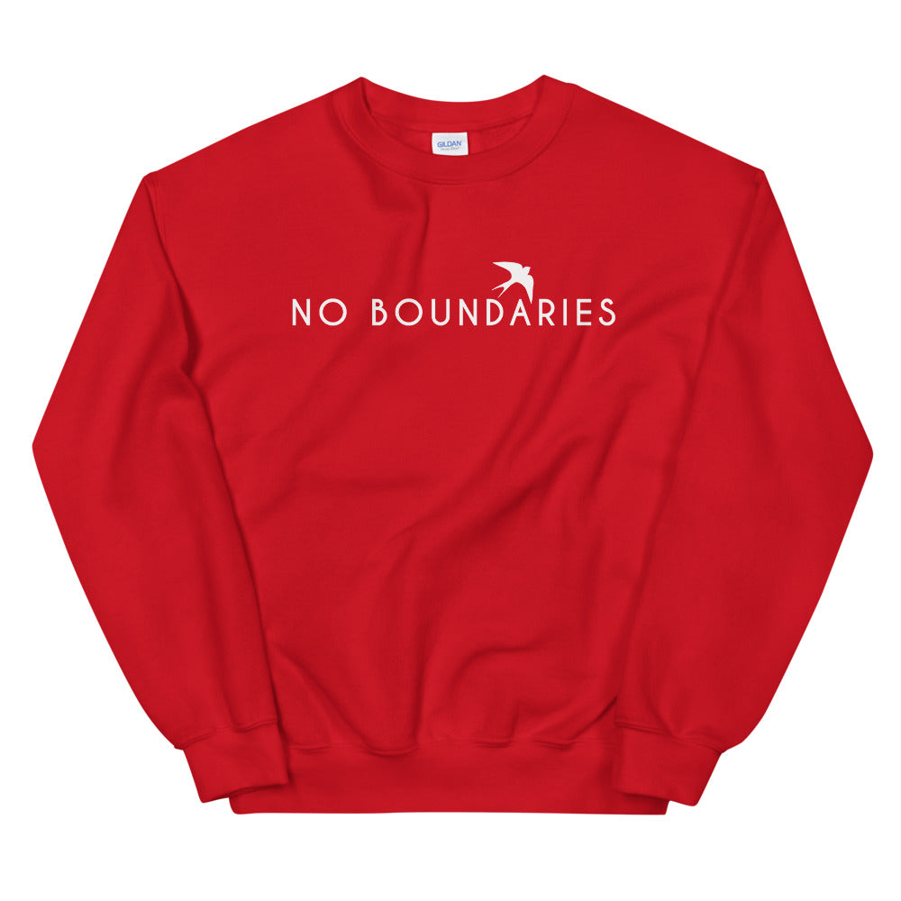 No Boundaries Sweatshirt | Red Motivational Crew Neck Sweatshirt