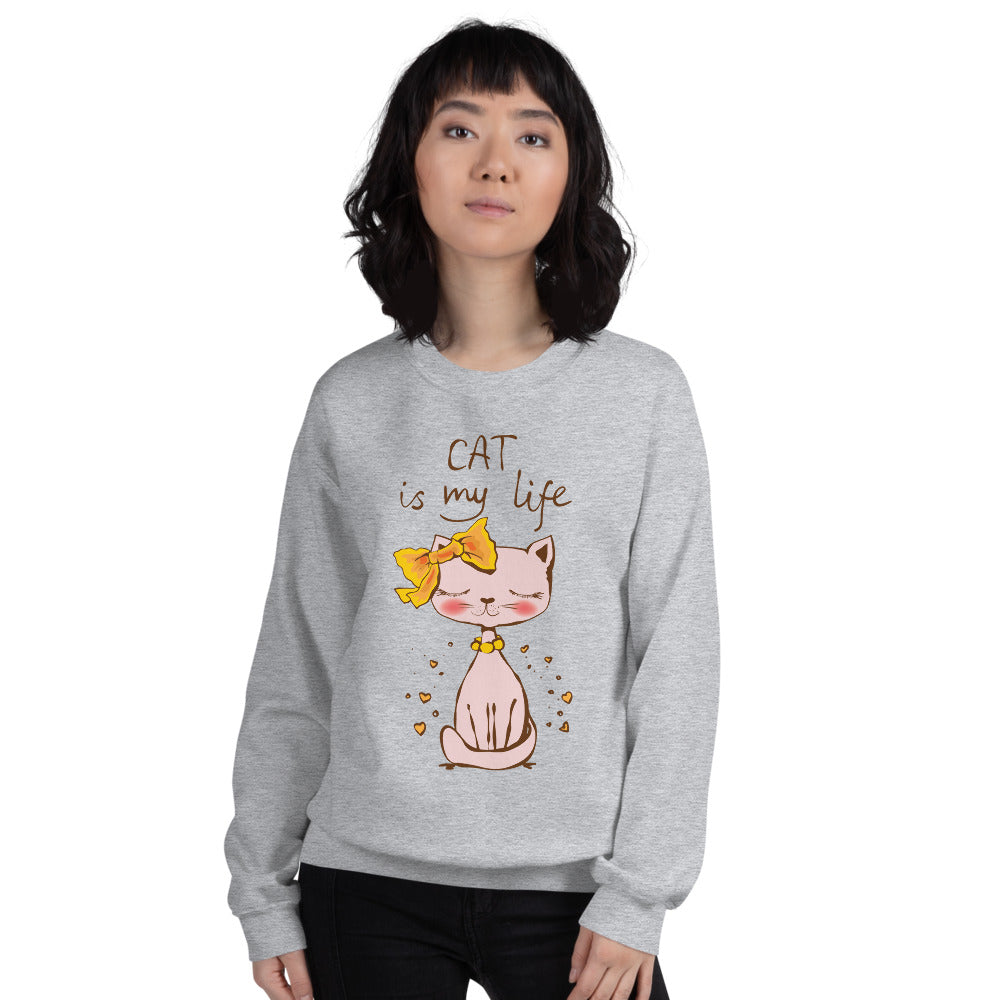 Cat is My Life Crewneck Sweatshirt for Women