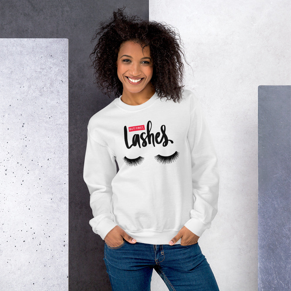 But First Lashes Sweatshirt | White Makeup Enthusiast Sweatshirt