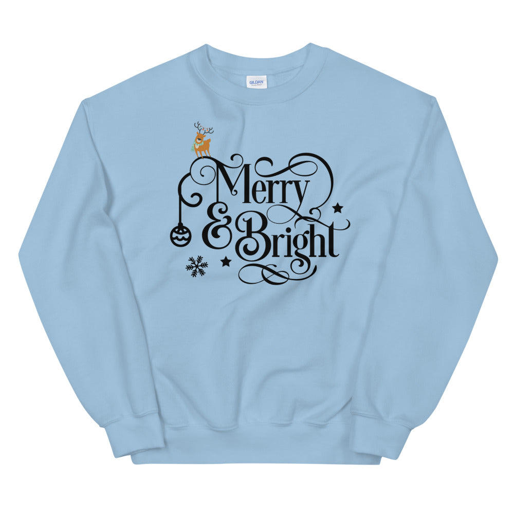 Merry and Bright Christmas Crewneck Sweatshirt for Women