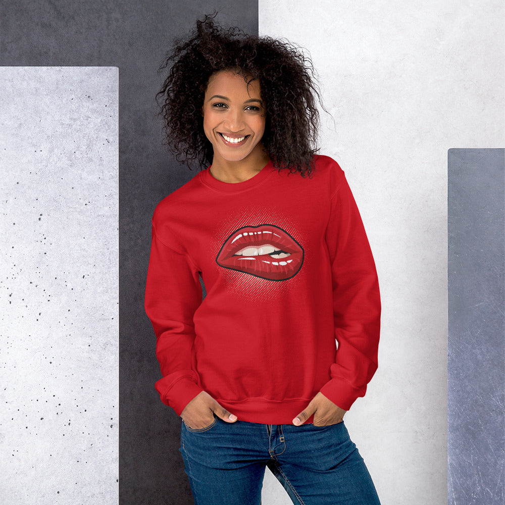 Red Pop Art Biting Lip Crewneck Sweatshirt for Women