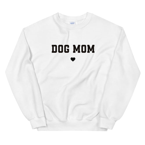 White Dog Mom Pullover Crewneck Sweatshirt for Women