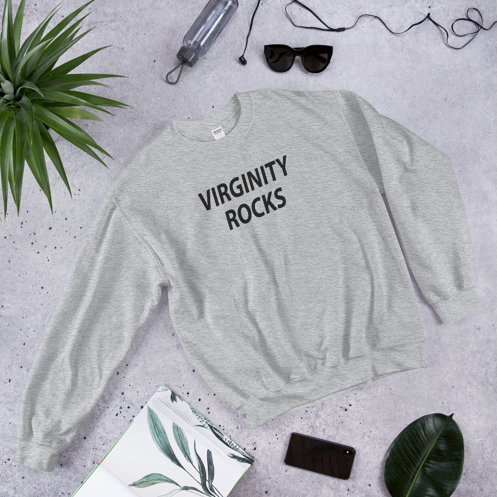 Virginity Rocks Sweatshirt | Grey Crewneck Virginity Rocks Sweatshirt for Women