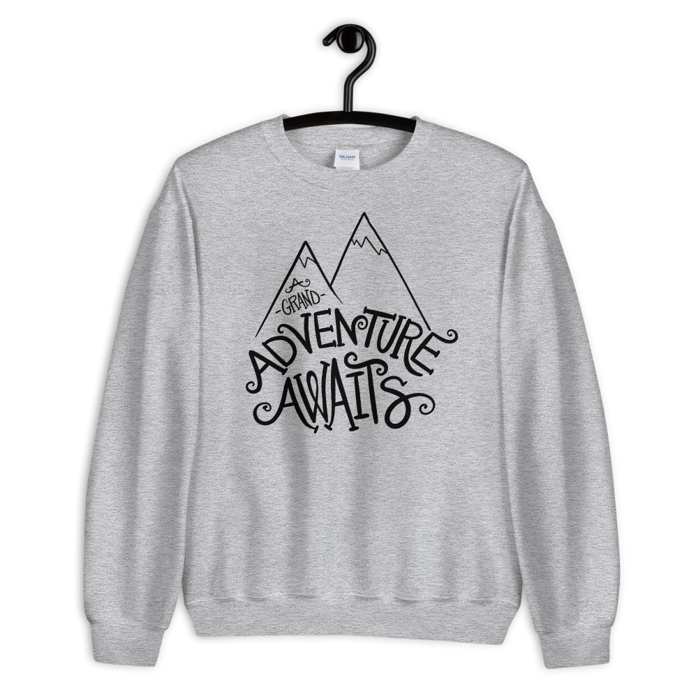 A Grand Adventure Awaits Sweatshirt | Grey Crewneck Sweatshirt for Women