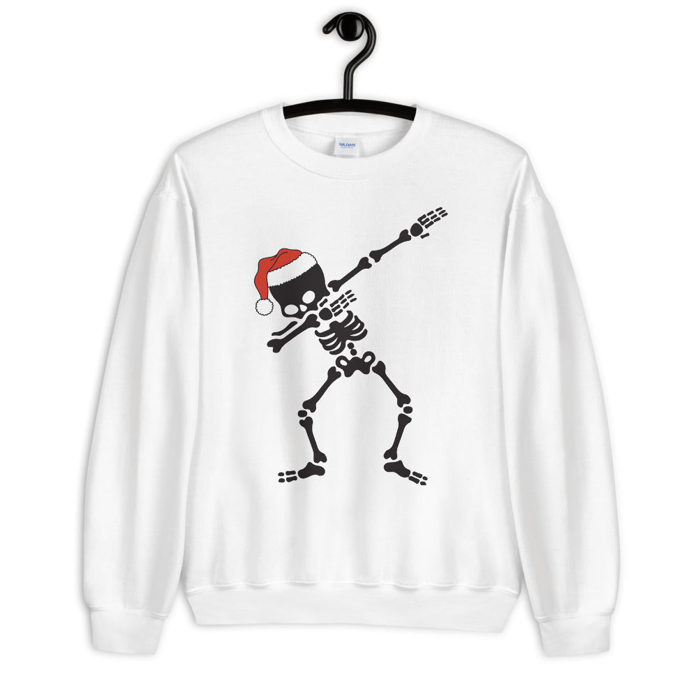 Dabbing Skeleton Santa Hat Sweatshirt for Women