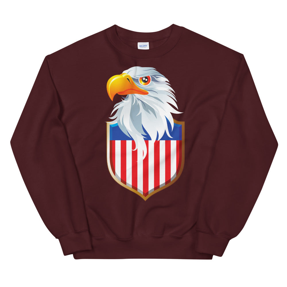 Patriotic USA Flag Sweatshirt | Eagle Shield Crewneck for Women