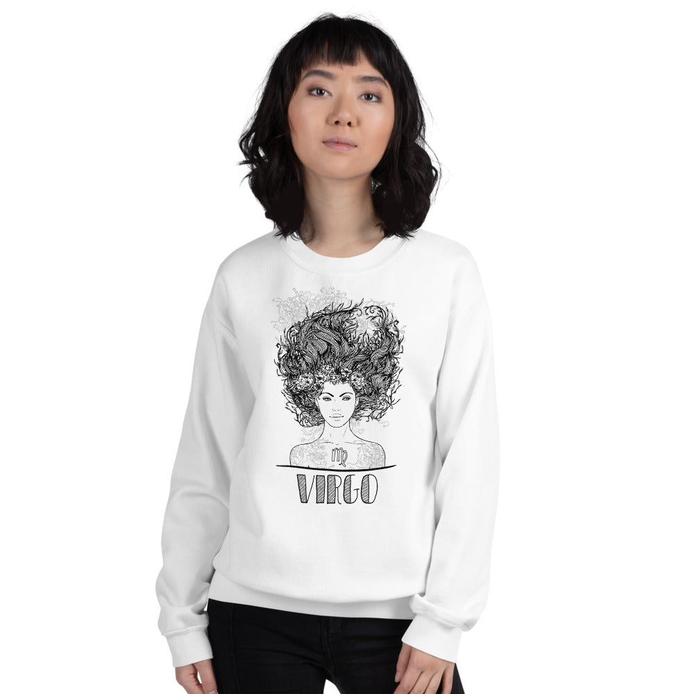 Virgo Sweatshirt | White Crewneck Virgo Zodiac Sweatshirt