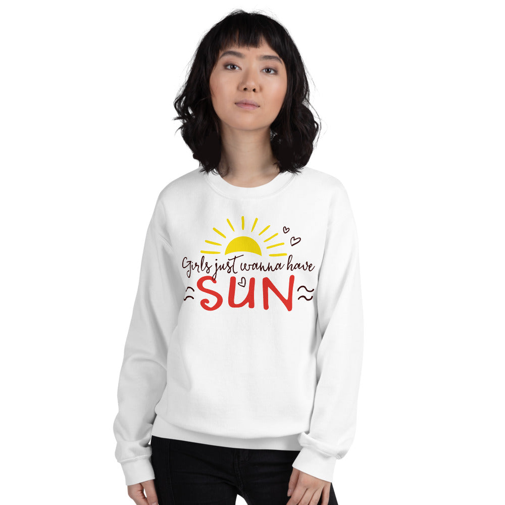 Girls Just Wanna Have Sun Sweatshirt for Women in White Color
