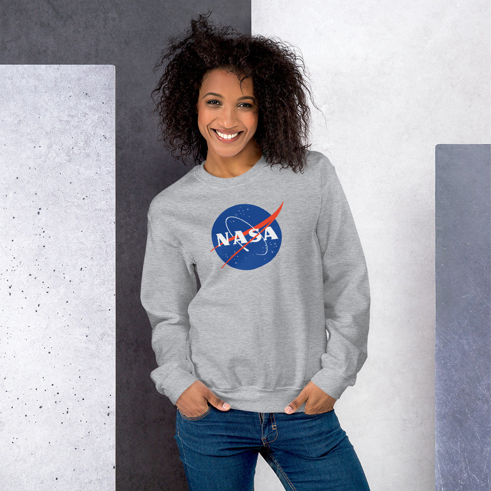NASA Sweatshirt | Grey Crewneck Nasa Logo Sweatshirt for Women and Girls