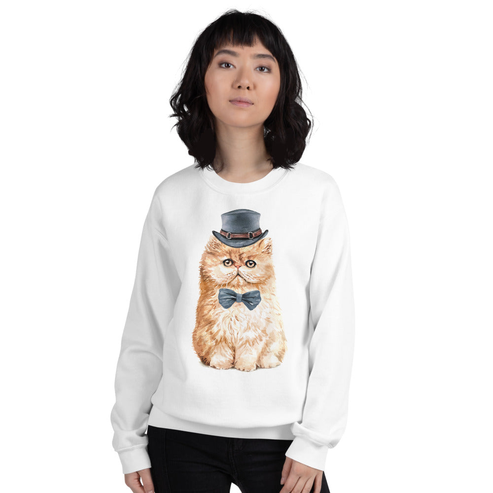 The Cat in the Hat and Bow Meme Crewneck Sweatshirt
